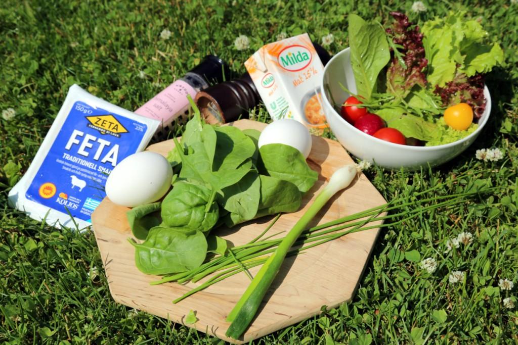 základní suroviny na omeletu jsou vajíčka, bylinky, špenát, smetana. Zbylé suroviny jsou už jen na vaší fantazii a volbě