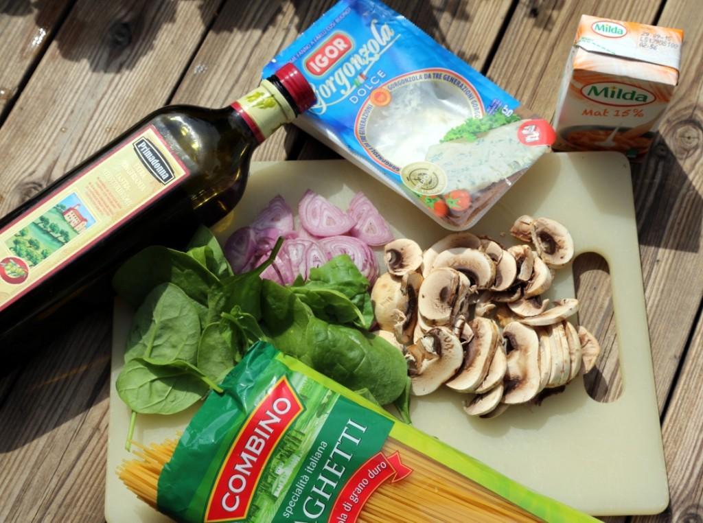 zde jsou základní suroviny: špagety, šalotka, pár žampionů či jiných hub, třetina balení gorgonzoly, pár kapek smetany a špenát. Pokud chcete pokrm vylepšit, tak přidejte trochu sušeného česneku nebo stroužek utřeného čerstvého. Pokud máte čerstvý tymián, tak vězte, že k tomuto jídlu ladí dokonale