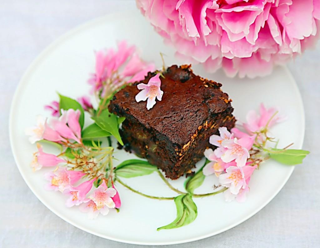 čokoládové brownies s rebarborou pro milovníky čokolády