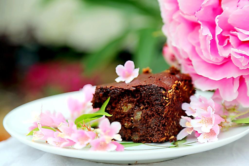 čokoládové brownies s rebarborou