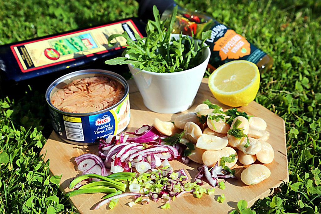 ingredience jsou jednoduše fazole, ryba, červená cibule, rukola a bylinky. Na zálivku použijte váš oblíbený ocet a olivový olej