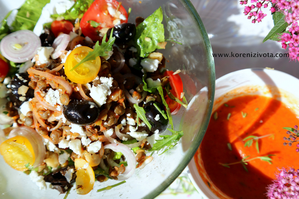 barevný salát láká k okamžité konzumaci