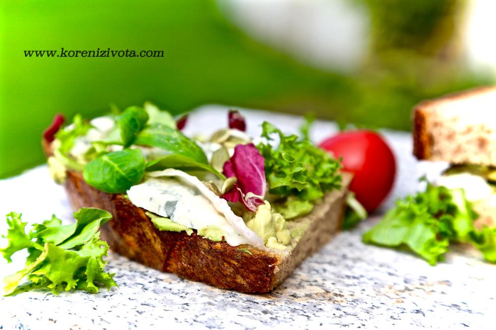 sendvič s avokádem a gorgonzolou si doplňte o zelené vitamíny jako je mix saátových listů či naklíčených semínek