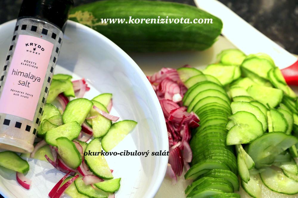 pokrájejte na tenké plátky cibuli a okurku, prosolte a odložte do chladu přikryté