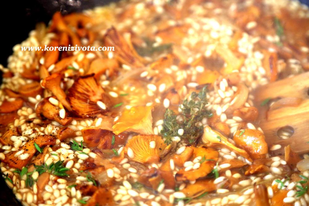 opražte rýži spolu s houbami, tymiánem, cibulí a česnekem a pak zalijte dobrým vínem; nechte odpařit