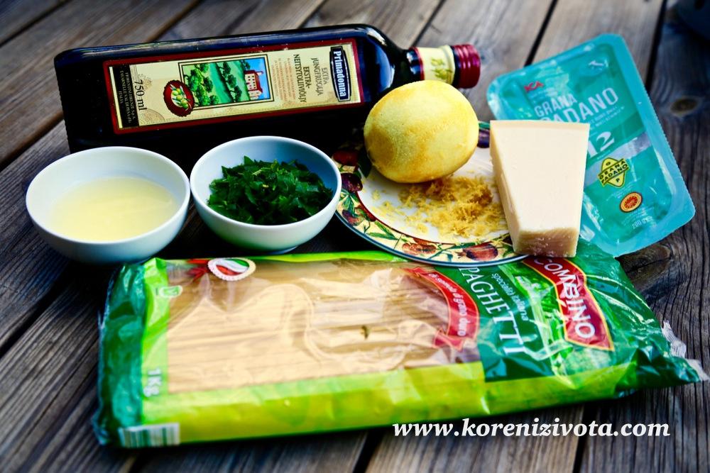 citronové těstoviny potřebují jen citron (kůra i šťáva), Parmezan, olivový olej, petrželku, těstoviny, sůl a pepř