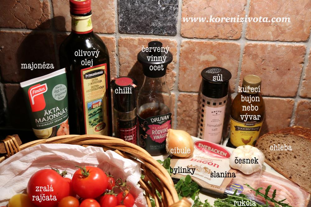 """suroviny na základ polévky: zralá rajčata, palička česneku, cibule, vývar, červený vinný ocet či citron, bylinky dle chuti, sůl, pepř a cukr. Zbytek surovin jsou už jen jako bonus, pokud chcete polévku """"vyšperkovat"""""""