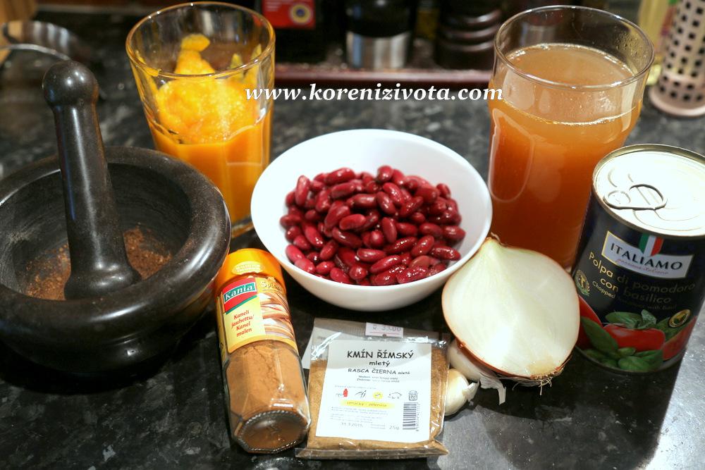 fazolovo-dýňová polévka je voňavá po skořici, římském kmínu a novém koření. Dýňové pyré a drcená rajčata dodají hustotu a krásnou barvu.