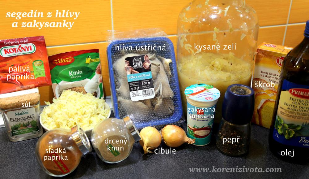 suroviny na segedínský guláš z hlívy ústřičné a zakysané smetany; milovníci masa mohou přidat třeba kuřecí maso
