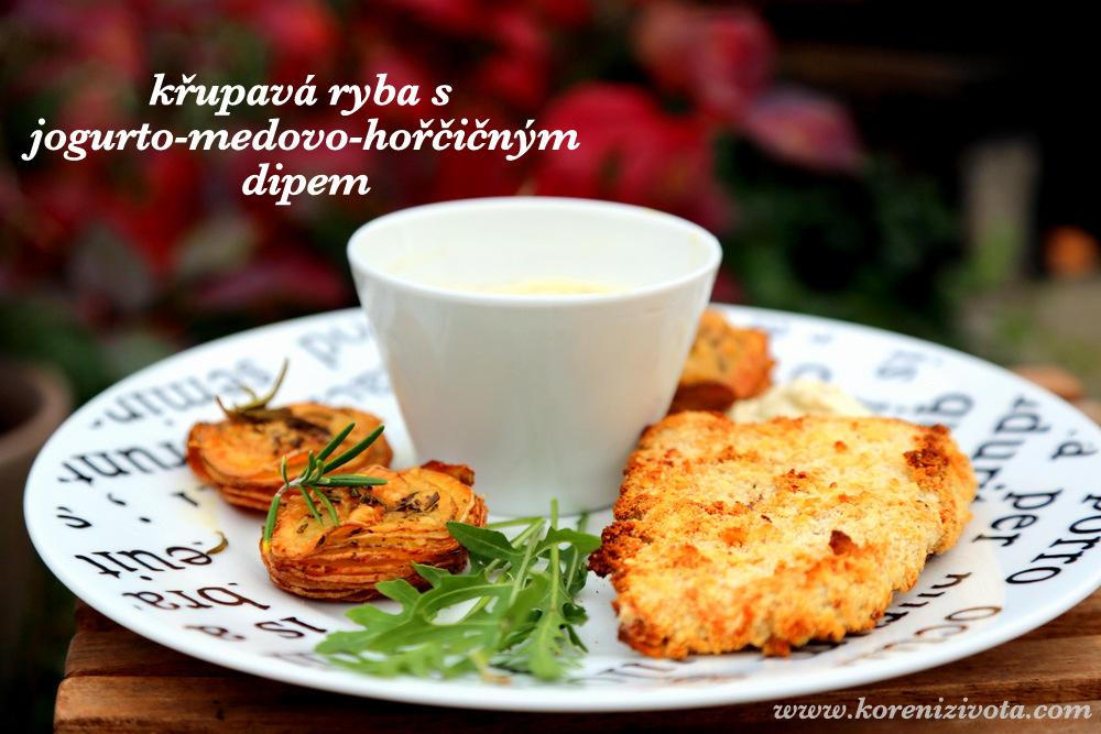 křupavá ryba s jogurto-medovo-hořčičným dipem je snadný recept i pro začátečníky