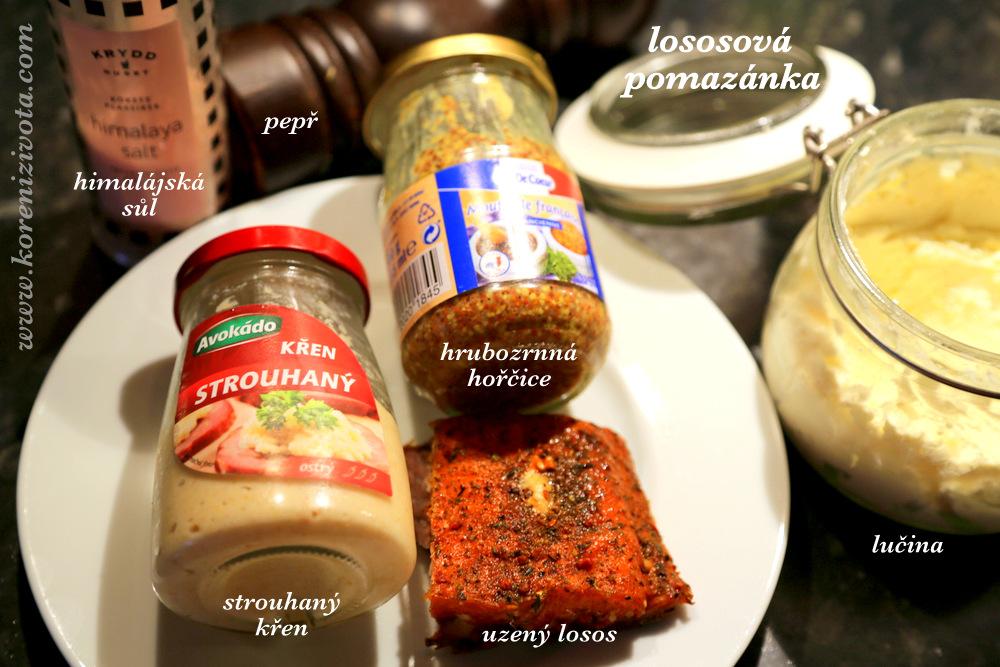 suroviny: kousek uzeného lososa, hořčice, křen a domácí lučina