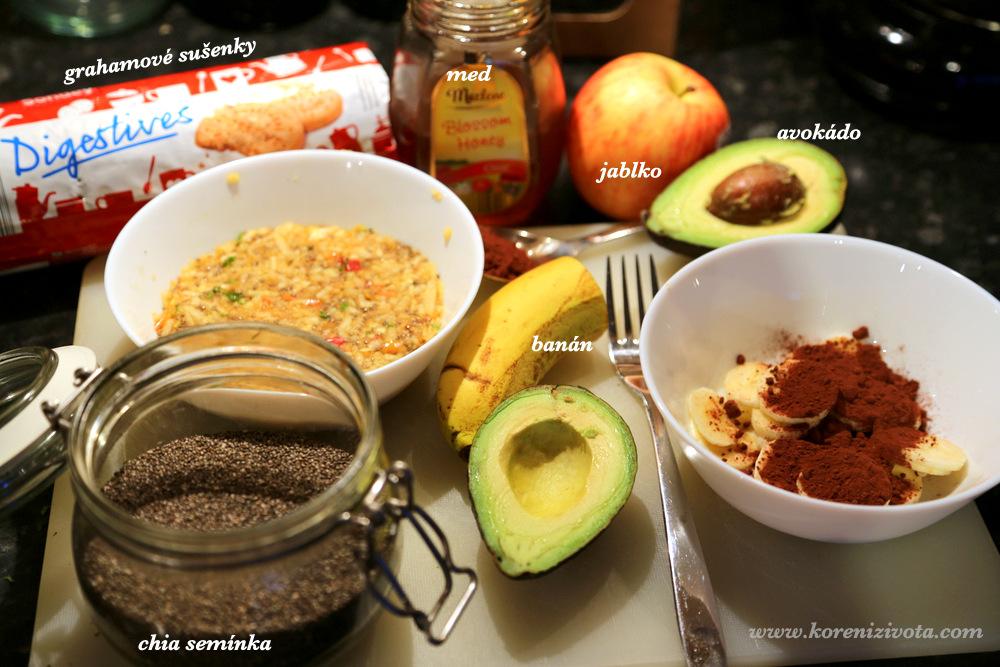 základní suroviny: banán, avokádo, jablko, chia semínka, med, sušenky.. semínka, ořechy či koření je na vaší fantazii