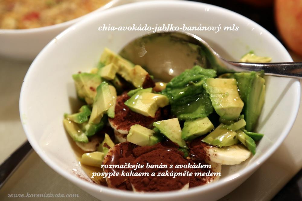 rozmačkejte banán s avokádem, posypte kakaem a zakápněte medem (či oblíbeným sirupem)