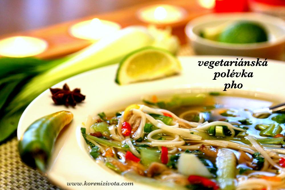vegetariánská polévka pho se ochucuje limetkovou šťávou a k tomu čerstvé bylinky