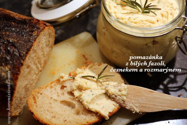pomazánka z bílých fazolí, česneku a rozmarýnu