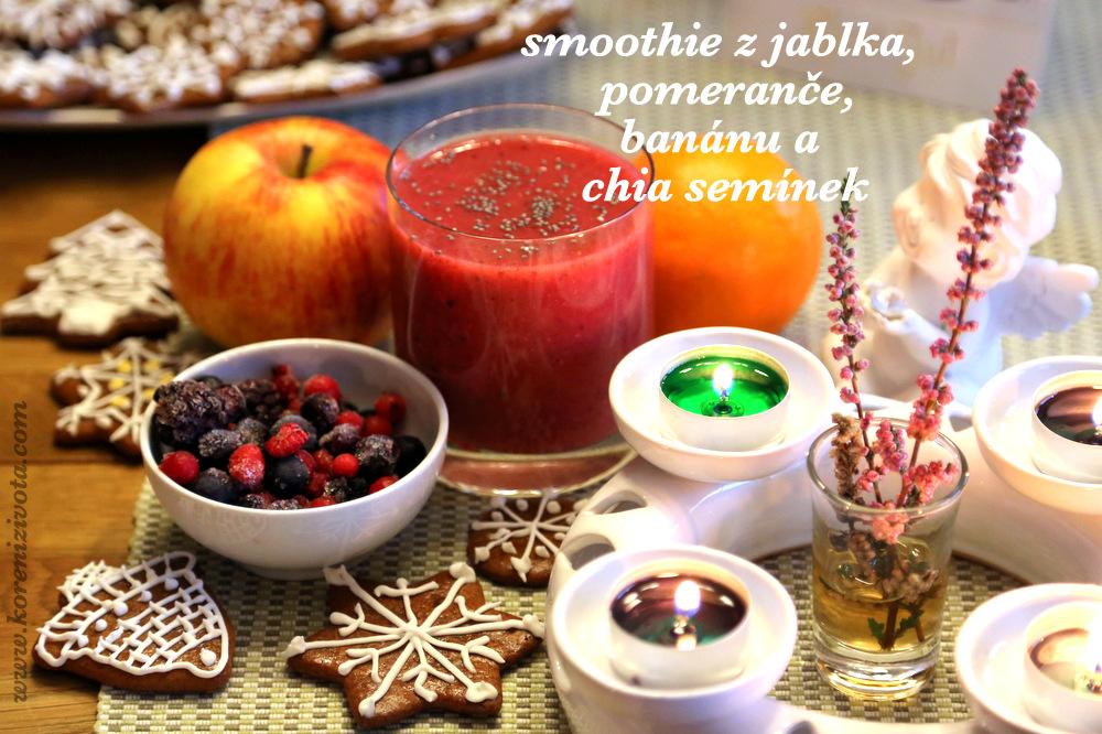 Smoothie z jablka, pomeranče, banánu a chia semínek
