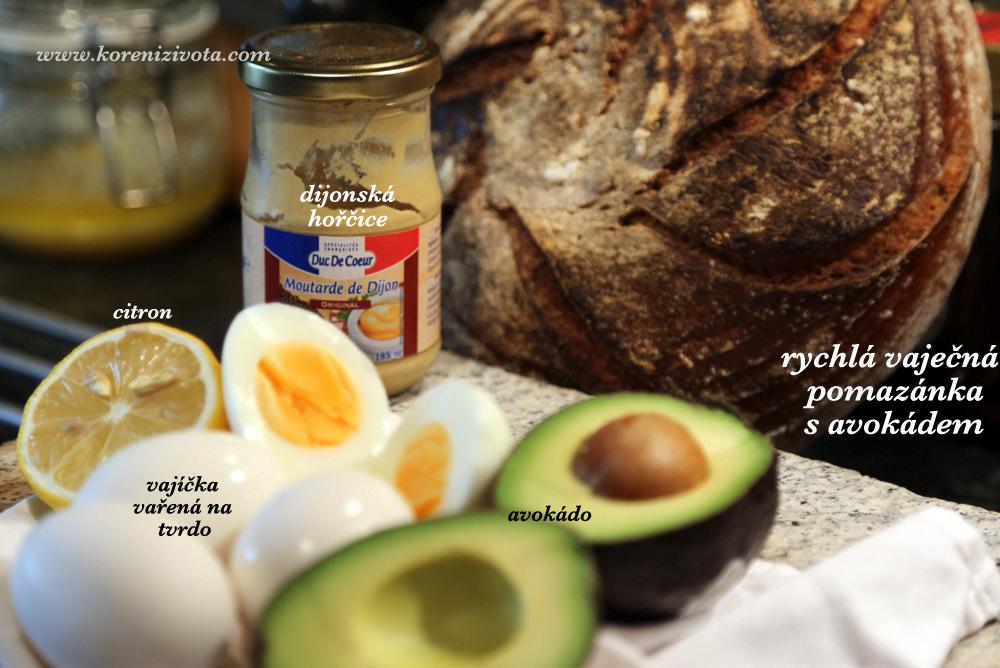 na pomazánku v základu potřebujete pouze vajíčka na tvrdo, avokádo, citron a hořčici