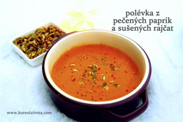 polévka z pečených paprik a sušených rajčat