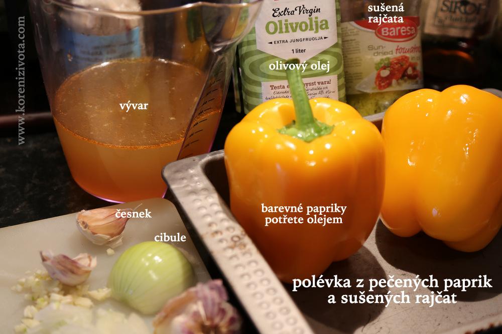 základní suroviny papriky, olivový olej, česnek, cibule, vývar, sušená rajčata