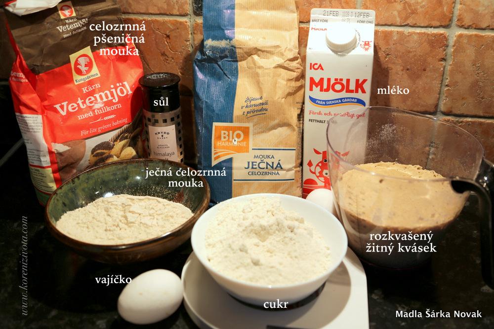 suroviny na základní recept: celozrnná mouka, rozkvašený kvásek, mléko, vejce, cukr a sůl