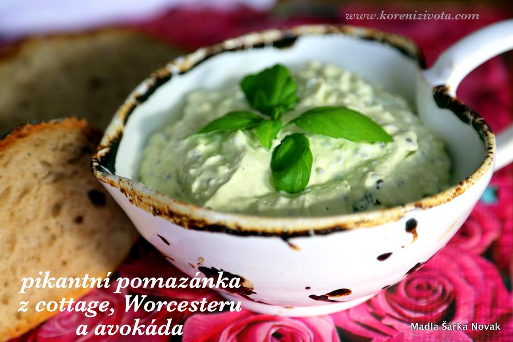Pikantní pomazánka z cottage, Worcesteru a avokáda se dá vylepšit o chia semínka, jarní cibulku či bazalku. Nejlépe chutná odležená v chladu.