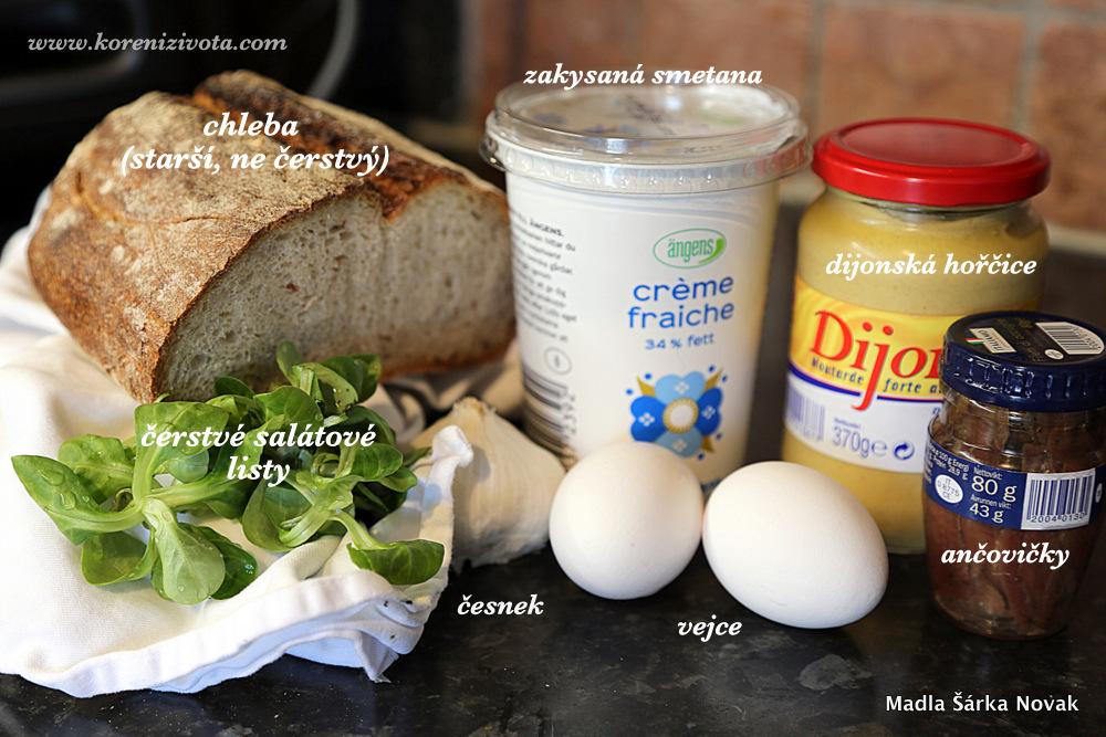 suroviny na crostini se 7-minutovým vejcem a ančovičkami