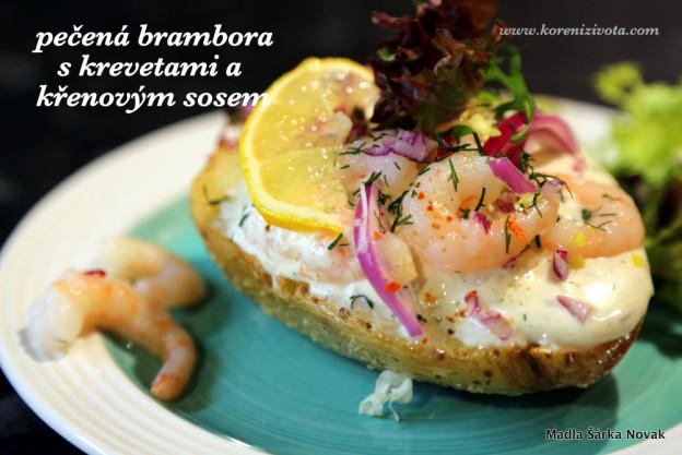 Pečená brambora s krevetami a křenovým sosem