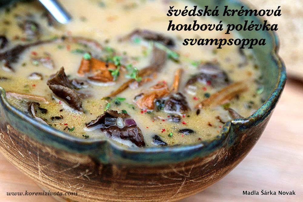 Švédská krémová houbová polévka svampsoppa