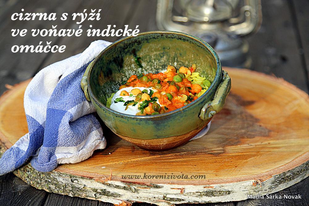 Cizrna s rýží ve voňavé indické omáčce je hřejivý pokrm nejen do mrazivých skandinvských dnů..