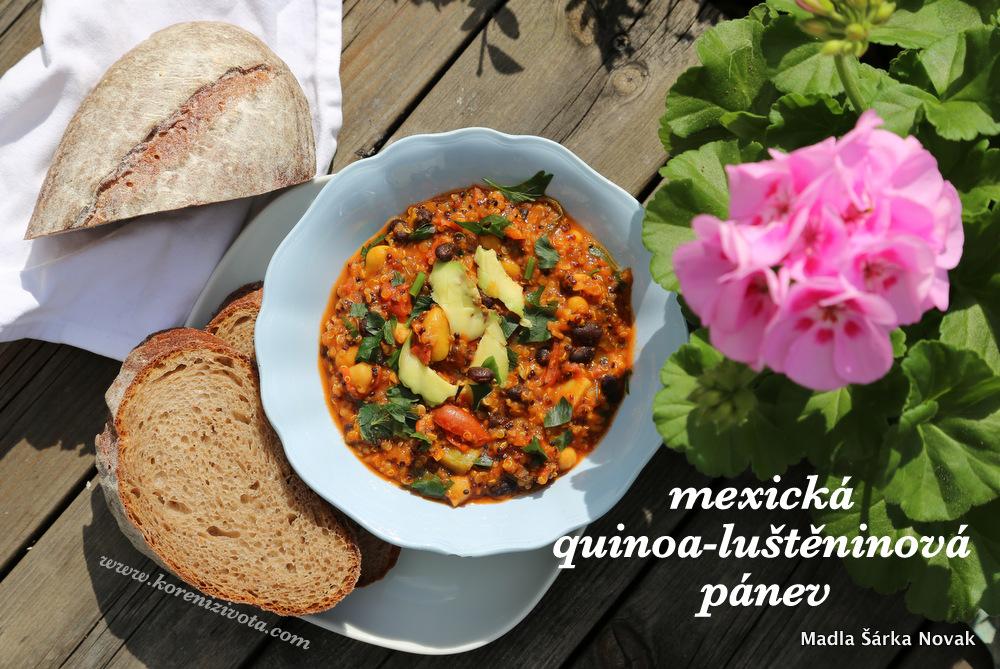 mexická quinoa-luštěninová pánev s kouskem domácího chleba