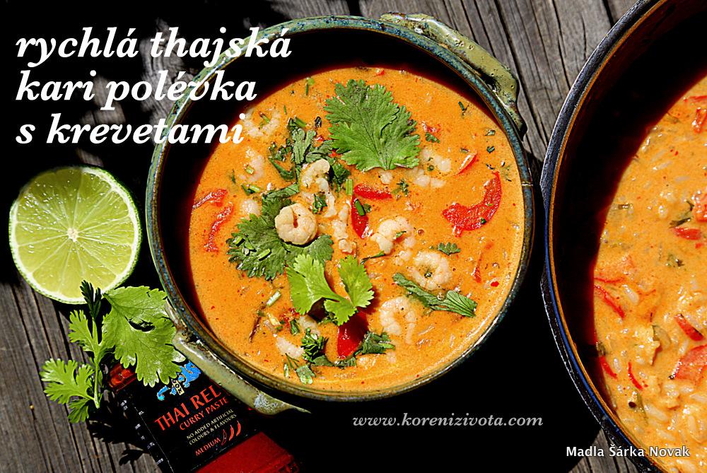 Rychlá thajská kari polévka s krevetami podávaná s listy čerstvě nasekaného koriandru