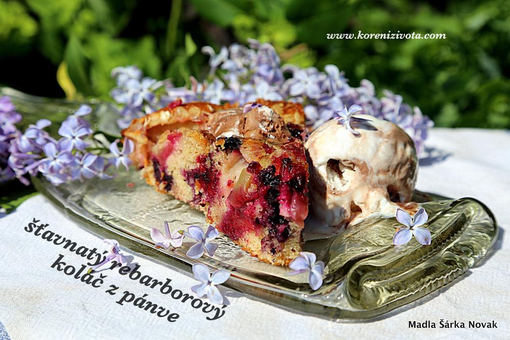 Šťavnatý rebarborový koláč z pánve je luxusní v kombinaci se zmrzlinou
