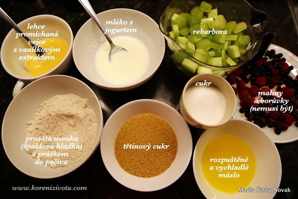 základní suroviny; jako bonus a pro barevnost jsem v tomto receptu přidala mix lesního ovoce z mrazáku