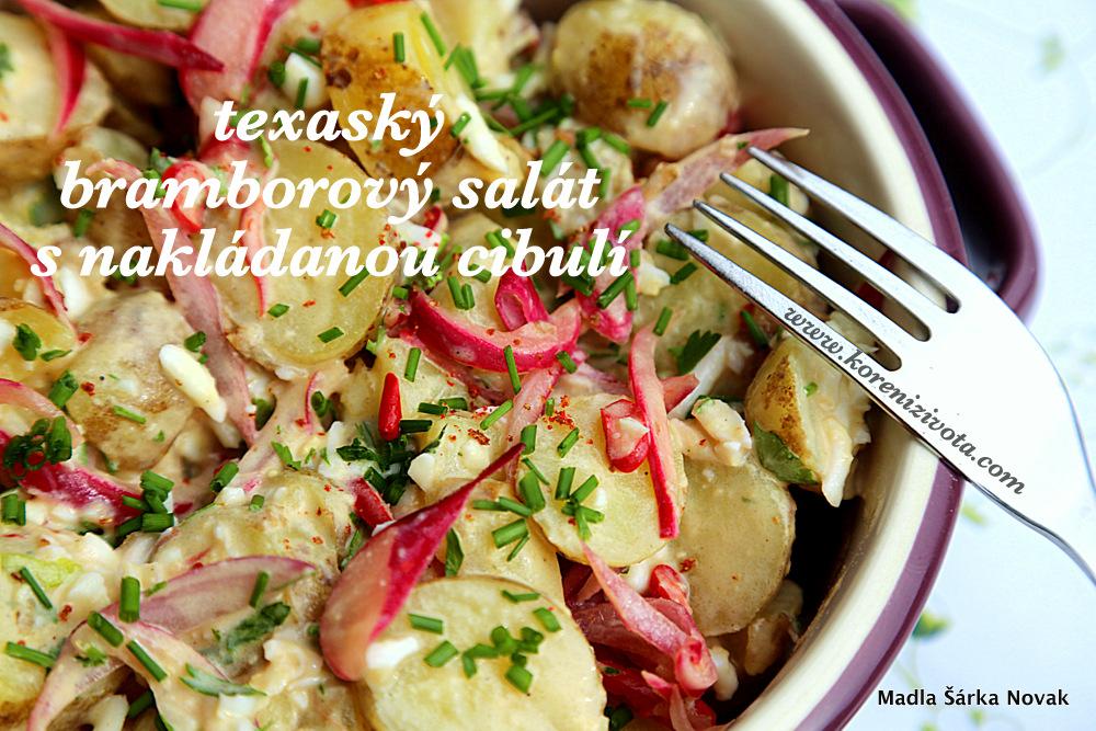 Texaský bramborový salát s nakládanou cibulí je příjemně pikantní