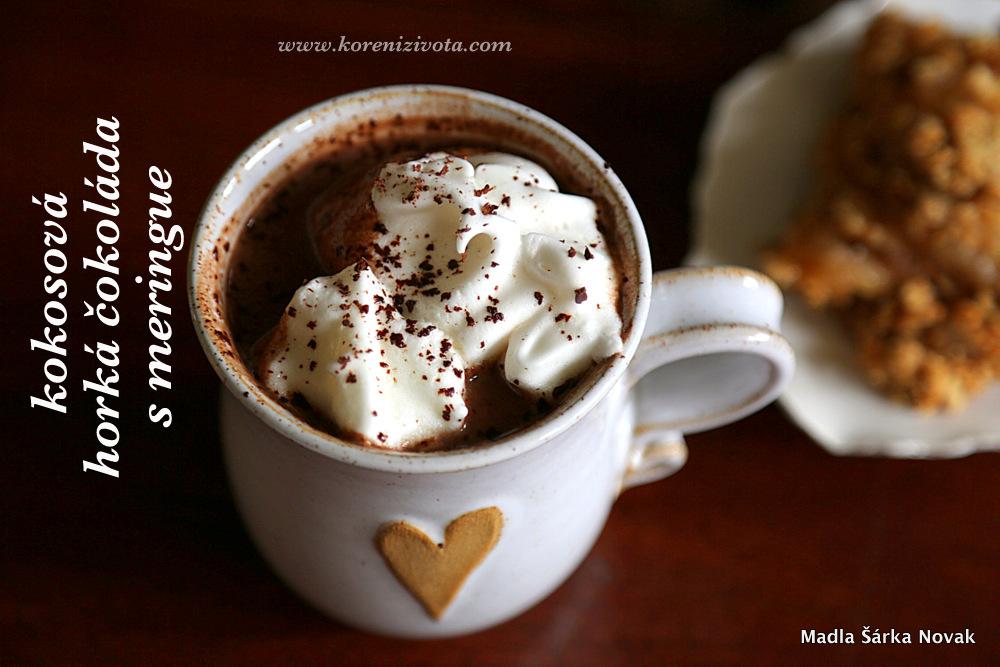 Kokosová horká čokoláda s meringue podáváná třeba s jablečným crumble