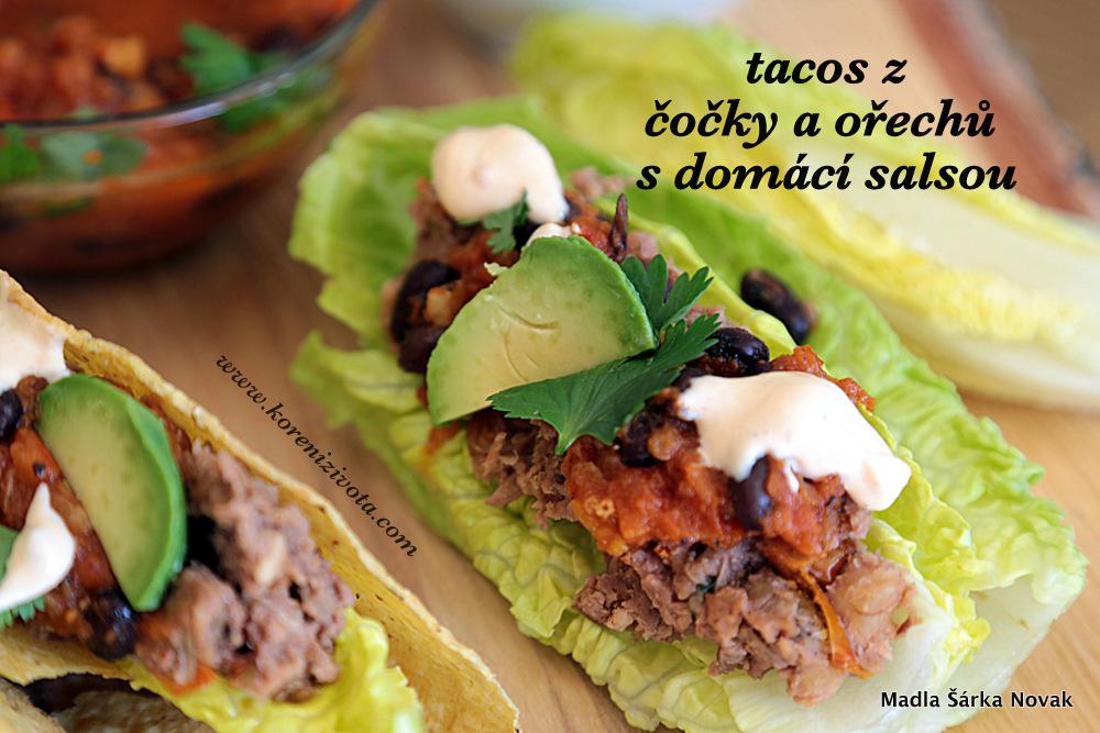 Tacos z čočky a ořechů s domácí salsou